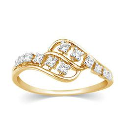 0.16 Ct Round Cut Real Natural Diamond Solid 14k Yellow Gold