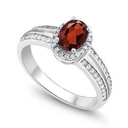 1.47 Ct Oval Red Garnet 925 Sterling Silver Ring
