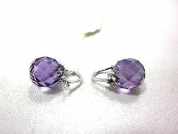 AMAZON CURATED COLLECTION 10K WHITE GOLD BEADS AMETHYST EARR