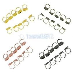 10Pcs Brass Adjustable 20mm Blank Ring Base Setting Loop for