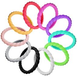 10Pcs Breaded Silicone wedding ring Thin Stackable Rubber Ba