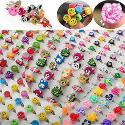 PINKSEE 10Pcs Mixed Colors Polymer Clay Children Kids Flower