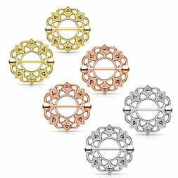 """14G 1/2"""" Gold Tone Rose Stainless Tribal Shield Pair Nipple"""