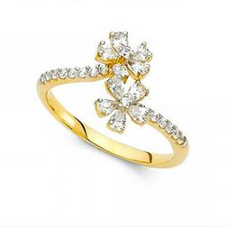 14K Genuine Yellow Gold Fancy Flower Ring with Man made Diam