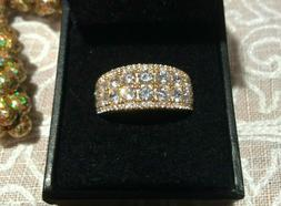 Judith Ripka 14k Gold Plated Sterling Silver Two Row CZ Band