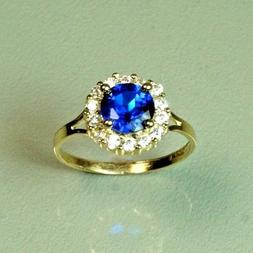 14k solid yellow gold childerens Blue Sapphire gorgeous ring