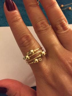 14k Yellow Gold Filled Bead Open Swirl Rings Set 2 Any Size