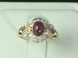 14K Yellow gold Genuine ruby and Genuine diamond ring for wo