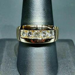 14K Yellow Real Gold 2.00 Carat Round Diamond Mens Engagemen