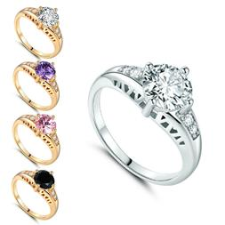 18K Yellow Gold Filled CZ Crystal Wedding Halo Promise Rings
