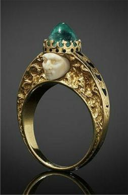 18K Yellow Gold Filled Emerald Woman Men Ring Fashion Party