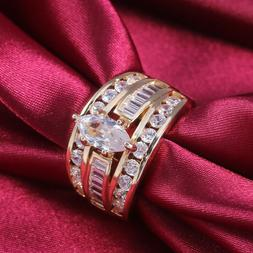 18k Yellow Gold Plated Rings for Women White Sapphire Weddin