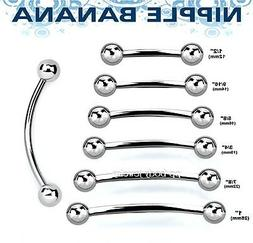 1PC. Surgical Steel Nipple Ring Curved Barbell and Tongue Sn