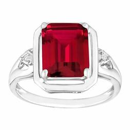2 3/4 ct Emerald-Cut Created Ruby Ring with Diamonds in Ster