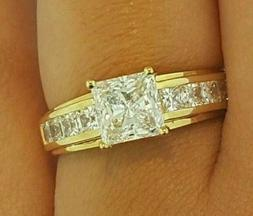 2.67 cts Princess Cut Solitaire Diamond Ring Engagement Soli