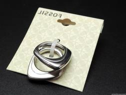 Fossil 2 Piece Ring Set Size 7 Silvertone New! NWT