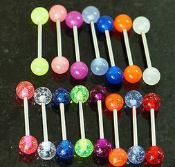 """20 Pc 14g 5/8"""" Glow In the Dark and Glitter Ball Tongue Ring"""