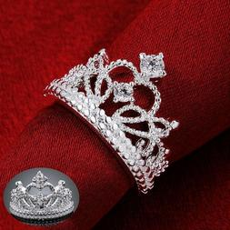 Women's Queen Royalty Princess Wedding Rings Crown Silver Fa