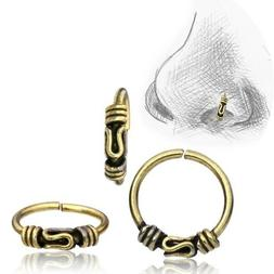 20G BALI TRIBAL BRASS NOSE RING 8MM RING NOSE STUD HELIX EAR