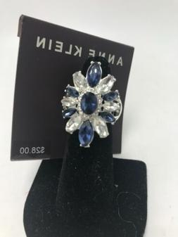 $28 Anne Klein silver tone blue & clear stone stretch   ring