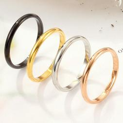 2pcs Thin Stackable Ring Punk Stainless Steel Plain Band Men