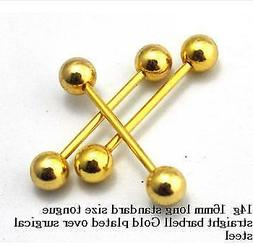 3 of  14G Yellow Gold Barbell Tongue and Nipple Rings with B