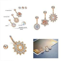 3 Pcs 14G Stainless Steel Belly Button Rings Barbell Navel F