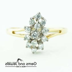 3165 Diamond man-made Ring set in Solid 14K Yellow Gold Woma