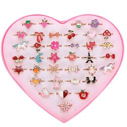 36 pcs Alloy Cartoon Rings Adjustable Jewelry Toys Gifts for
