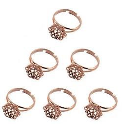6 Adjustable Filigree Flower Cup Base Ring Blank for Jewelry
