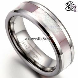 6MM Women Pink Abalone Shell Tungsten Rings Comfort Fit Wedd
