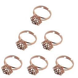 6PCS Adjustable Flower Cup Base Pad Ring Blank for Jewelry M