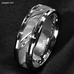 8/6mm Tungsten Carbide Ring Silver leaf New Brushed Style Br