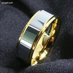 8/6mm Tungsten Mens Ring 18K Gold High polished Wedding Band