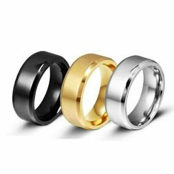 8MM Stainless Steel Ring Band Black Men's SZ 6 to 12 Wedding