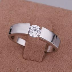 925 Fashion Silver exquisite Austria Crystal wedding Ring je