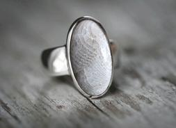 925 STERLING SILVER FOSSIL CORAL WOMEN MENS HANDMADE WEDDING