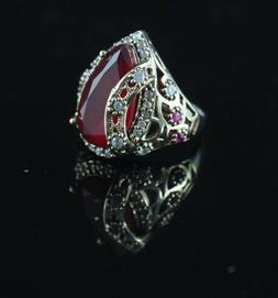 925 Sterling Silver Handmade Authentic Turkish Ruby Ladies R