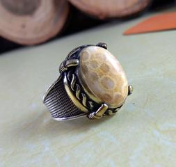 925 STERLING SILVER NATURAL FOSSIL CORAL TWO TONE DESIGNER M