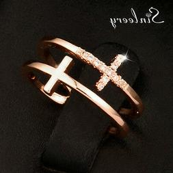 Adjustable Crystal Double Cross Rings For Women Rose Gold Pl