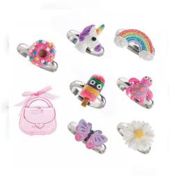 Adjustable Rings Set for Little Girls - Colorful Cute Unicor