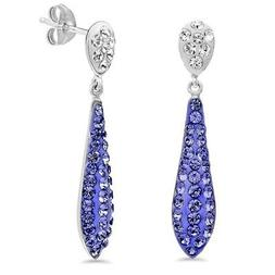 Amanda Rose Sterling Silver Dangle Earrings made with SWAROV