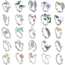 Authentic 925 Sterling Silver Open Rings Fashion Women Girls