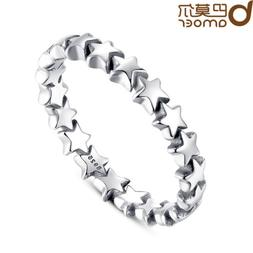 Bamoer Authentic S925 Sterling Silver Ring , Star Trail Stac