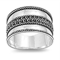Bali Polished Rope Wide Thumb Ring New .925 Sterling Silver