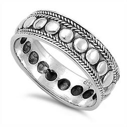 Bali Rope Oxidized Thin Thumb Ring New .925 Sterling Silver