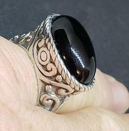 Black Onyx 925 Silver Ring Size 6 Bali Style Unisex Made in