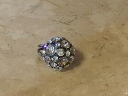 Fossil Brand GLAM Ring Glitz circle Crystals Statement Silve