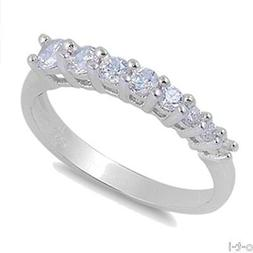 Brilliant Clear CZ Journey Stack-able Fashion Sterling Silve