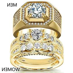 Couple Rings Yellow Gold Filled CZ Women's Wedding Ring Sets